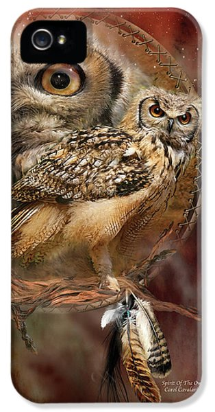 Dream Catcher - Spirit Of The Owl IPhone 5 Case by Carol Cavalaris