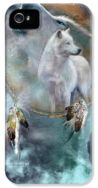 Dream Catcher - Spirit Of The White Wolf IPhone 5 Case by Carol Cavalaris