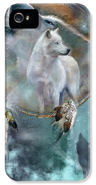 Dream Catcher - Spirit Of The White Wolf IPhone 5 / 5s Case by Carol Cavalaris