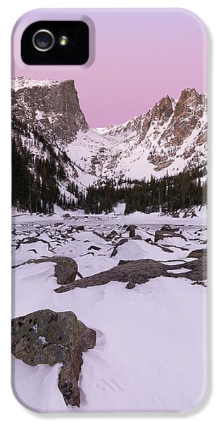 IPhone 5 Case featuring the photograph Dream Lake Winter Vertical by Aaron Spong