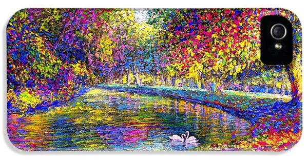 Drifting Beauties, Swans, Colorful Modern Impressionism IPhone 5 Case