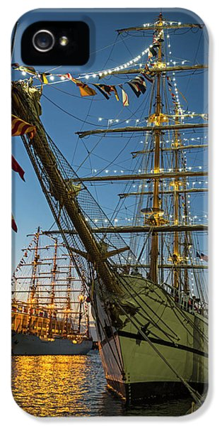 Dual Boston Tall Ships At Night Boston Ma IPhone 5 Case by Toby McGuire