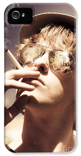 Dude Smoking Cigarette IPhone 5 Case by Jorgo Photography - Wall Art Gallery