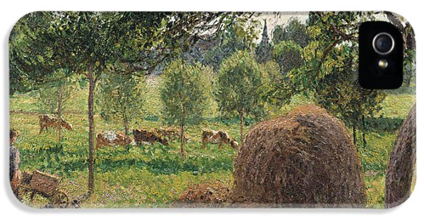 Dusk At Eragny IPhone 5 Case by Camille Pissarro