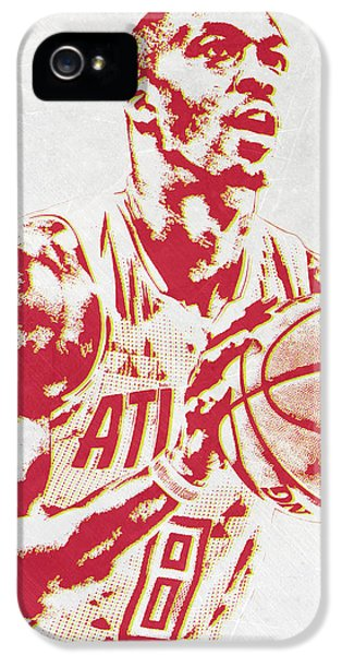 Dwight Howard Atlanta Hawks Pixel Art IPhone 5 / 5s Case by Joe Hamilton