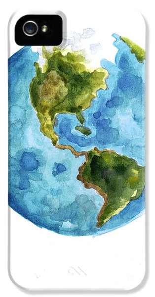 Earth America Watercolor Poster IPhone 5 / 5s Case by Joanna Szmerdt