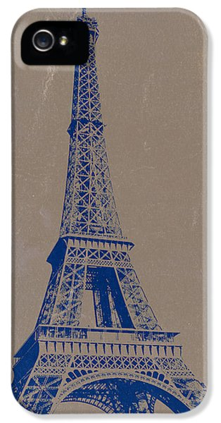 Eiffel Tower Blue IPhone 5 Case by Naxart Studio