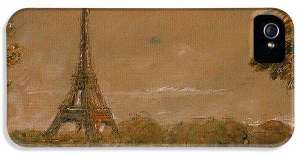 Eiffel Tower iPhone 5 Case - Eiffel Tower Paris Watercolor by Juan  Bosco
