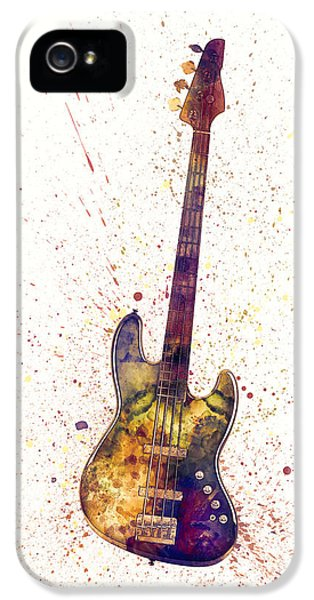 Guitar iPhone 5 Case - Electric Bass Guitar Abstract Watercolor by Michael Tompsett