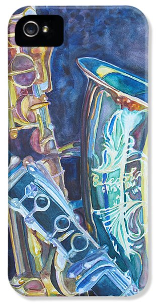 Saxophone iPhone 5 Case - Electric Reeds by Jenny Armitage