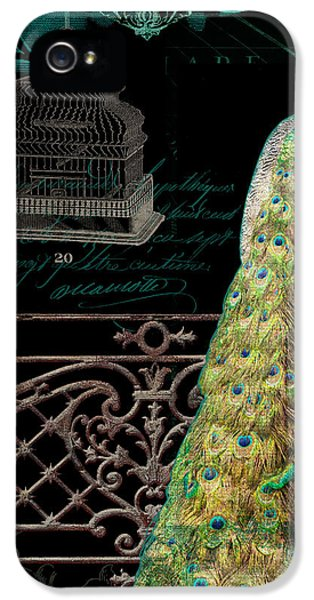 Elegant Peacock Iron Fence W Vintage Scrolls 4 IPhone 5 Case by Audrey Jeanne Roberts