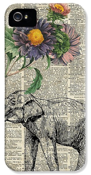 Elephant With Flowers IPhone 5 Case by Jacob Kuch
