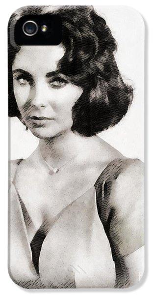 Elizabeth Taylor iPhone 5 Case - Elizabeth Taylor, Vintage Hollywood Legend By John Springfield by John Springfield