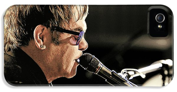 Elton John At The Mic IPhone 5 Case by Elaine Plesser