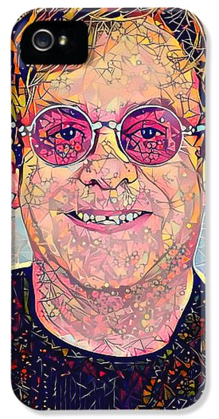 Elton John iPhone 5 Case - Elton John Triangles Portrait by Yury Malkov