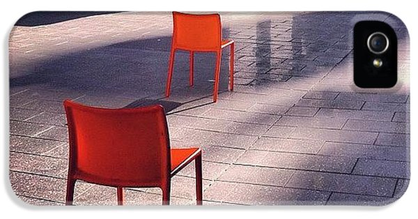 Orange iPhone 5 Case - Empty Chairs At Mint Plaza by Julie Gebhardt