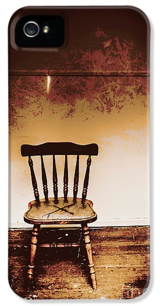 Empty Wooden Chair With Cross Sign IPhone 5 Case by Jorgo Photography - Wall Art Gallery