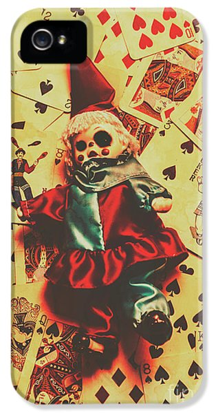 Evil Clown Doll On Playing Cards IPhone 5 Case by Jorgo Photography - Wall Art Gallery