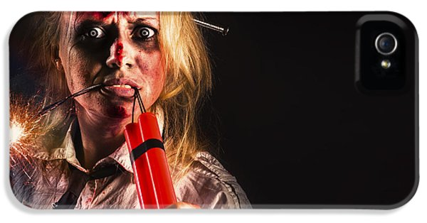 Evil Female Halloween Zombie Holding Bomb IPhone 5 Case by Jorgo Photography - Wall Art Gallery