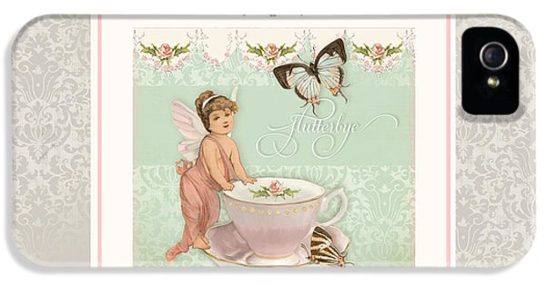 Bunting iPhone 5 Case - Fairy Teacups - Flutterbye Butterflies And English Rose Damask by Audrey Jeanne Roberts