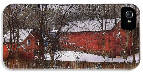 Farm - Barn - Winter In The Country  IPhone 5 Case by Mike Savad