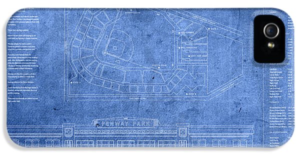 Fenway Park Blueprints Home Of Baseball Team Boston Red Sox On Worn Parchment IPhone 5 Case