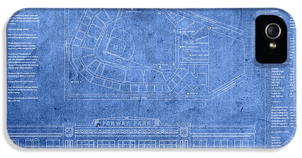 Fenway Park Blueprints Home Of Baseball Team Boston Red Sox On Worn Parchment IPhone 5 Case by Design Turnpike