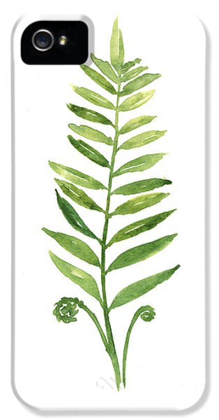 Fern Leaf Watercolor Painting IPhone 5 Case