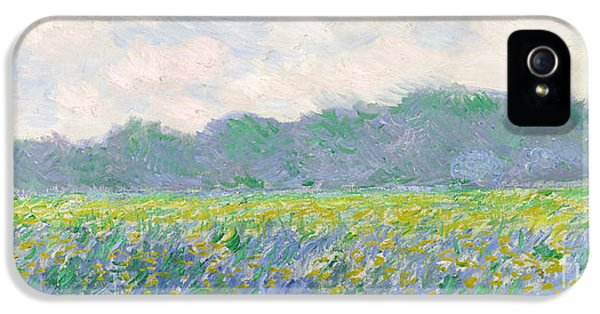 Rural Scenes iPhone 5 Case - Field Of Yellow Irises At Giverny by Claude Monet