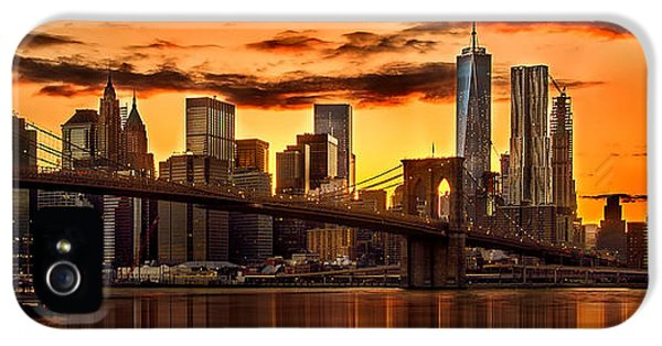Fiery Sunset Over Manhattan  IPhone 5 Case by Az Jackson