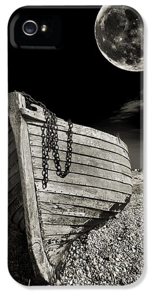 Moon iPhone 5 Cases - Fishing Boat Graveyard 3 iPhone 5 Case by Meirion Matthias