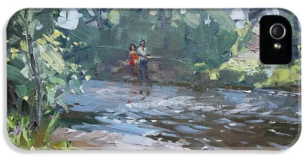 Fishing Day With Viola IPhone 5 Case by Ylli Haruni