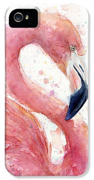 Flamingo iPhone 5 Case - Flamingo - Facing Right by Olga Shvartsur