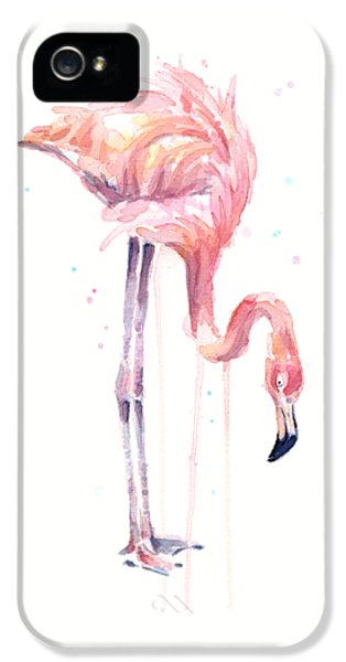 Flamingo Illustration Watercolor - Facing Left IPhone 5 / 5s Case by Olga Shvartsur