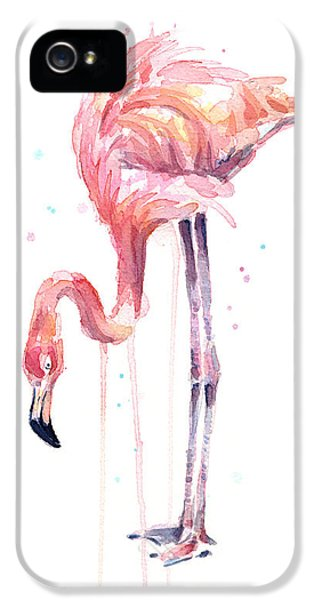 Flamingo Illustration Watercolor - Facing Left IPhone 5 Case
