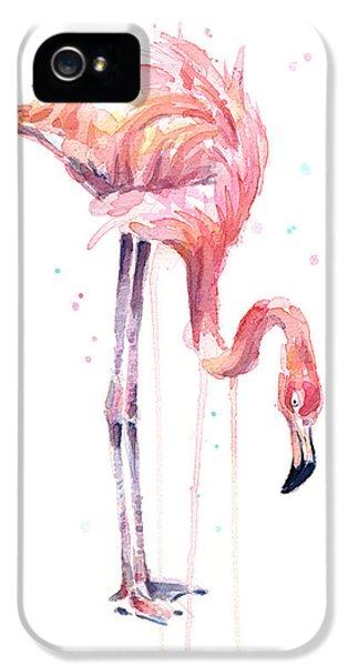 Flamingo iPhone 5 Case - Flamingo Painting Watercolor by Olga Shvartsur
