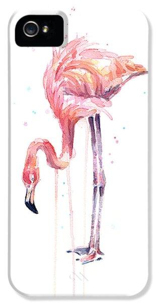 Flamingo iPhone 5 Case - Flamingo Watercolor - Facing Left by Olga Shvartsur