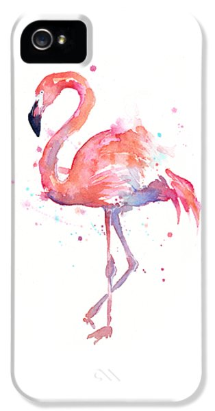 Flamingo Watercolor IPhone 5 Case by Olga Shvartsur