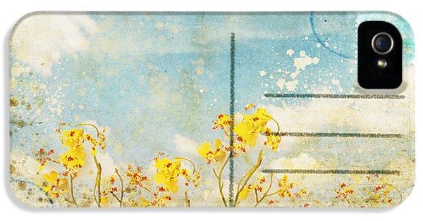 Floral In Blue Sky Postcard IPhone 5 Case by Setsiri Silapasuwanchai