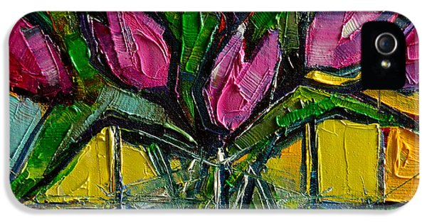 Floral Miniature - Abstract 0615 - Pink Tulips IPhone 5 / 5s Case by Mona Edulesco