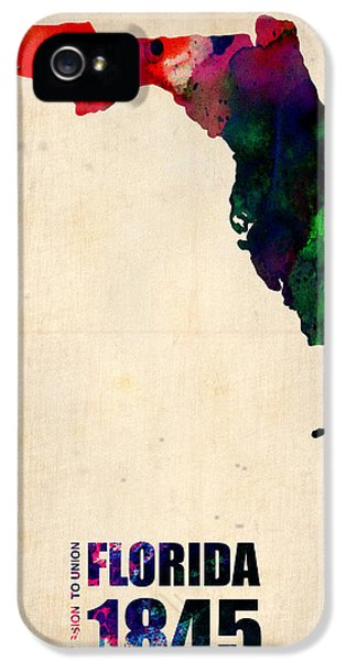 Florida Watercolor Map IPhone 5 Case by Naxart Studio