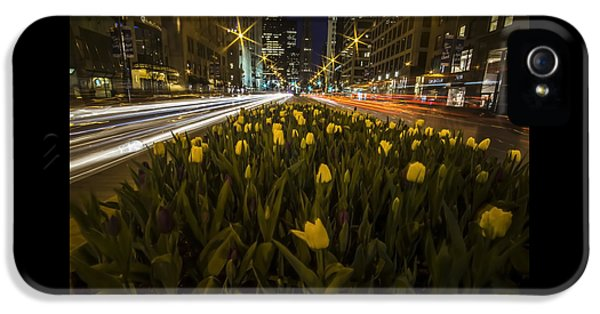 Flowers At Night On Chicago's Mag Mile IPhone 5 Case
