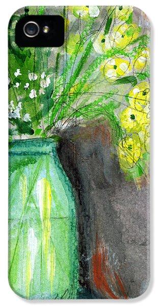 Flowers In A Green Jar- Art By Linda Woods IPhone 5 Case by Linda Woods
