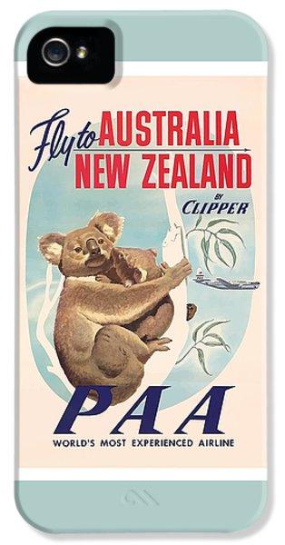 Koala iPhone 5 Case - Fly To Australia, New Zealand By Clipper Koala Bears by Retro Graphics