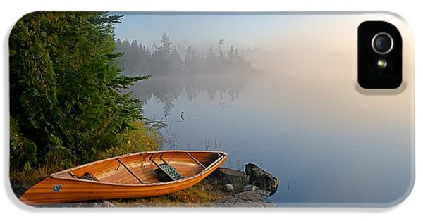 Landscape iPhone 5 Case - Foggy Morning On Spice Lake by Larry Ricker