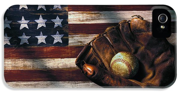 Folk Art American Flag And Baseball Mitt IPhone 5 Case by Garry Gay