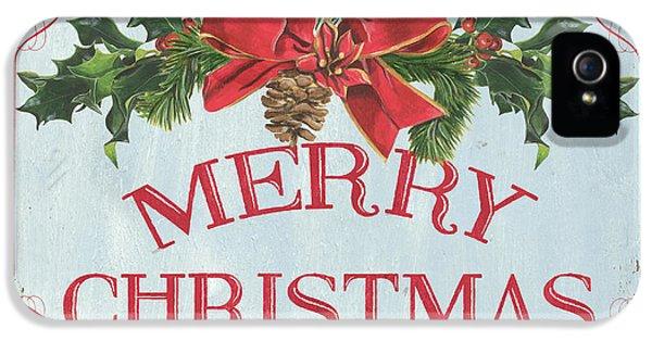 Folk Merry Christmas IPhone 5 Case by Debbie DeWitt