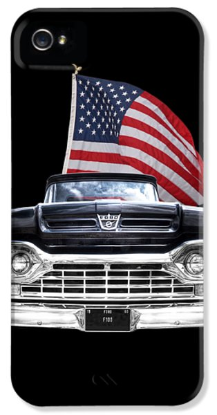 Ford F100 With U.s.flag On Black IPhone 5 Case