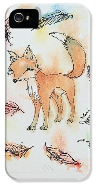 Fox And Feathers IPhone 5 Case by Venie Tee
