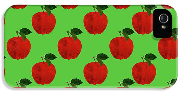 Fruit 02_apple_pattern IPhone 5 Case by Bobbi Freelance